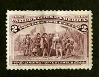 US Stamps # 231 2c Columbian OG HR Huge Stamp