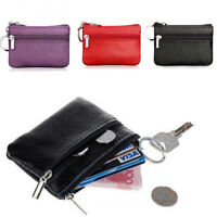 Women Men Leather Mini Coin Change Purse Wallet Clutch Zipper Small Bag Newly