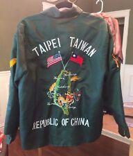 VINTAGE VIETNAM ERA TAIWAN R.O.C. EMBROIDERED REVERSIBLE NYLON TOUR JACKET USA