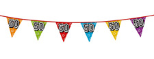 50th Birthday Party Multi Coloured Holographic Flag Bunting Banner Decoration