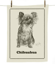 Mike Sibley Long hair Chihuahua dog breed cotton tea towel - dog lover gift
