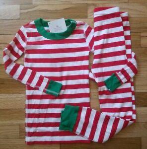 NWT Hanna Andersson VERY MERRY RED STRIPE ORGANIC HOLIDAY Pajamas 100 4, 110 5