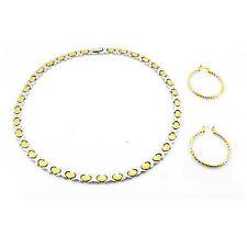 "Hugs & Kisses Necklace Bracelet Earring Set Stampato Stainless Steel 2 Tone 18"""