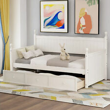 White Twin Size Storage Wood Daybed Frame w/Three Drawers, Sofa Daybed Home @fan