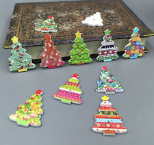 50pcs Christmas Tree Shape Wooden Sewing Buttons Scrapbooking Decorative 35mm