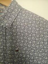 men's Tommy Hilfiger Denim  blue 80s style pattetn short sleeved shirt medium