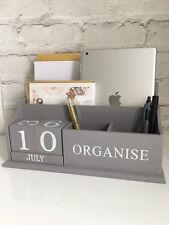 Shabby Vintage Desktop Organiser Perpetual Calendar Letter Rack Grey Wooden
