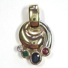 591 - Aparter Anhänger Gelbgold 585 Rubin Saphir Smaragd Diamant - 1995