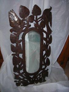 Haitian folk art metal mirror,signed Pascal,birds/leaves RARE