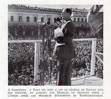 60 COMPIEGNE DISCOUR GENERAL DE GAULLE APPEL UNION IMAGE 1948 OLD PRINT