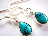 Blue Turquoise Small Pear Shaped Dangling 925 Sterling Silver Earrings dangle