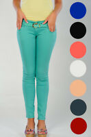 Womens Skinny Stretch Fit Belted Coloured Trousers Ladies New Sz 6-14