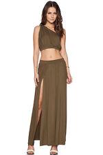 Bohemian Safari Green One shoulder Crop Top Boba Skirt Dress Set