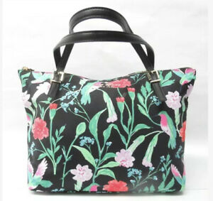 pre-loved KATE SPADE Zip Close watercolor floral TOTEBAG birds nylon/leather