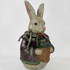 "Deborah Graham 12"" BUNNY RABBIT EGG BASKET Figurine Folk Art Primitive Easter"