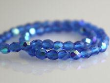 Dark Aqua Blue AB - 50 3mm Faceted Round Fire Polish Czech Glass Beads