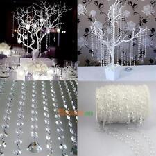 99FT Garland Diamond Acrylic Crystal Bead Curtain Wedding DIY Xmas Party Decor