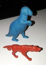 Vintage Marx Mpc Timmee Prehistoric Blue Allosaurus Dinosaur & Red Dire Wolf