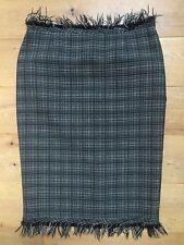 KAREN MILLEN 100% Wool Black & Beige Fringed Skirt @ Size UK 10  EU 40