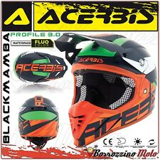 CASQUE ACERBIS PROFILE 3.0 BLACKMAMBA MOTOCROSS ENDURO BLEU/ORANGE MATE TAILLE M