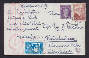 TURKEY 1943 WWII CENSORED ANKARA POSTCARD KARABUK TO HRUSCHAU GERMANY