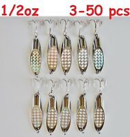 3-50 pcs 1/2oz Kast Spoons Silver Holographic Saltwater Fishing Lures