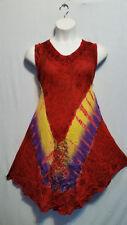 Women Clothing Tie Dye Sundress Summer Beach Sun Dress Red Yellow Free Size