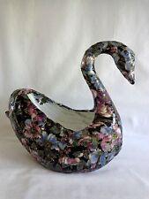 """Paper Mache Swan Planter 8"""" Black Floral Plastic"""