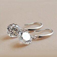 .925 Sterling Silver Plated Dangling Drop Earrings Naked 8mm AAA Cubic Zirconia