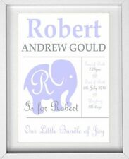 BABY BOYS NAME | Personalised Picture | New Baby | Elephant | FREE POST |(NP007)