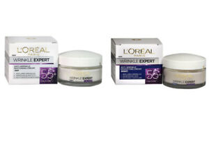 TWIN PACK L'Oreal Paris Wrinkle Expert 55+ Day Cream AND Night Cream 50ml Each