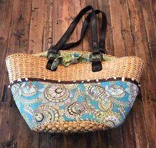 VERA BRADLEY -- Capri Beach Tote Straw Bag Purse Paisley Print & Shells