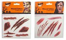2 Feuilles blessure Tatouages Enfants Adultes Stick Halloween cicatrice sang Coupure Blessure tatouages