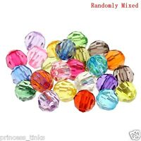 150 x Acrylic Faceted Round Beads ~ 6mm *CLEAR AB or MIXED*