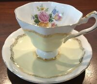Royal Stafford Soft Yellow Footed Teacup and Saucer. Pink Yellow Roses In Cup A+