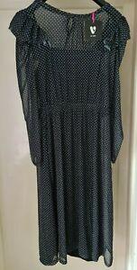 BNWT V By Very Kimono Sleeve Mesh Midi Dress Black Size 14