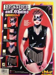 Biker/Punk Studded Chain Belt Black Leather & Silver Stud Costume Belt W/ Chains