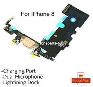 For IPhone 8 Charging Port Charger Flex USB Dock Microphone Cable UK Stock Gold
