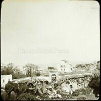 MAROC Tanger le Marché Maghreb 1904, Photo Stereo Grande Plaque Verre VR9L5n3