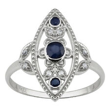 10k White Gold Antique Style Genuine Round Sapphire and Diamond Ring size 8