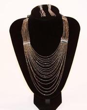 Necklace Earrings Set Premium Fashion Jewelry Silver Tone Multi Strand JXDO New