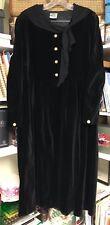 Laura Ashley Vintage 80s Black Velvet Victorian Dress w Scarf Collar,  US 10
