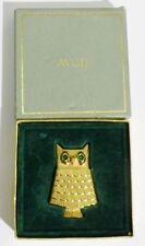 broche porte parfum bijou vintage hibou coul or signé AVON cristaux émeraude A18
