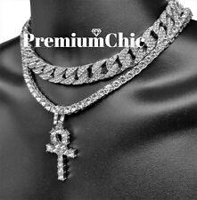 Mens Hip Hop ANKH Pendant Tennis Chain + Miami Cuban Choker Silver Plated COMBO