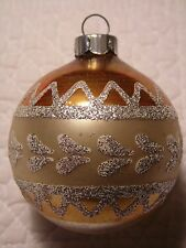 VINTAGE CHRISTMAS TREE ORNAMENT GLITTER MICA SILVER GOLD LOVELY