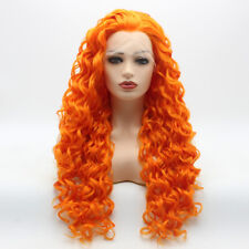 Meiyite Hair Curly Long 26inch Orange Realistic Synthetic  Lace Front Wig