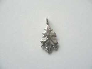 Silver plated antiqued pewter oak leaf charm pendant in gift box