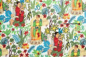 1 Yard Indian Cotton White Natural Frida Kahlo Hand Screen Printed Craft Fabric