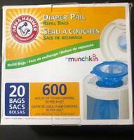 NO TAX Munchkin Arm /& Hammer Diaper Pail Refill Bags 20 for 600 DIAPERS CHEAP!!