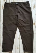 EILEEN FISHER pants women LARGE PETITE stretch brown straight pencil crop capri
